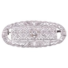 Art Deco Filigree Diamond Platinum Brooch