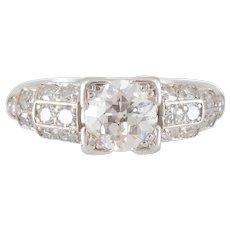 Platinum Ring with 0.80 Carat Center Diamond