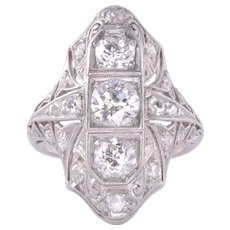 Edwardian Diamond Platinum Ring