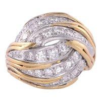 Swirl Diamond 18K Gold Ring
