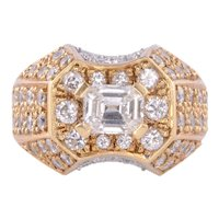 Emerald Cut Center Diamond 18K Ring