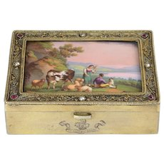 Italian Gilt Enameled Silver Ring Box by G Accarisi