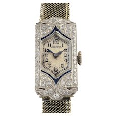 1.25 CTW Diamond and Sapphire Art Deco Ladies Wrist Watch by Gruen