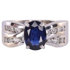 Oval Sapphire & Diamond White Gold Ring