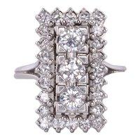 Three Center Diamond Platinum Ring