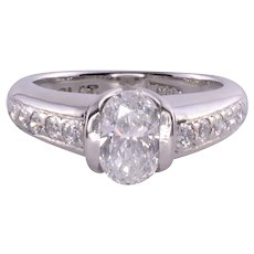 .98 Carat Oval Center Diamond Engagement Ring