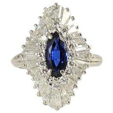Platinum 4.16 CTW Diamond and Sapphire Ring