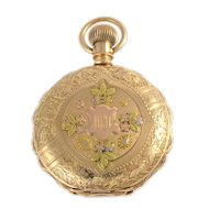 American Tri Color Gold Hunter Case Pocket Watch by Elgin
