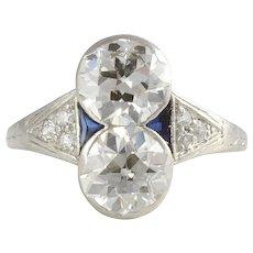 Platinum VVS2-VS2 3.16 CTW European Cut Diamond Ring
