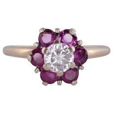 Ruby Floral Design Diamond Engagement Ring