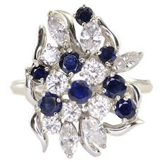 2.35 CTW Diamond and Sapphire 18K White Gold Ring