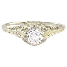 0.38 Carat Old European Cut Diamond Ring