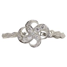 Rare Art Nouveau 4.91 CTW Diamond 18K White Gold Bracelet