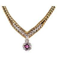 1.45 Carat Ruby and Diamond Chevron Necklace