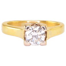 0.57 Carat Diamond Solitaire 18K Gold Ring