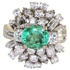 1.35 Carat Emerald and Diamond Ring