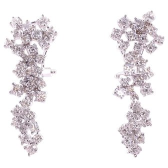 2.90 CTW VVS Diamond Cluster Earrings