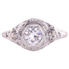 0.45 Carat Diamond 18K White Gold Filigree Ring