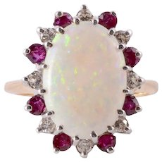 Opal, Ruby & Diamond Ring