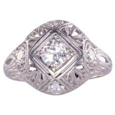 Edwardian VVS2 Diamond Platinum Filigree Pinky Ring
