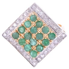 Emerald & Diamond 18 Karat Gold Ring