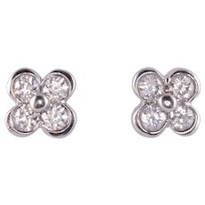 Tiffany & Co Diamond Clover Platinum Earrings