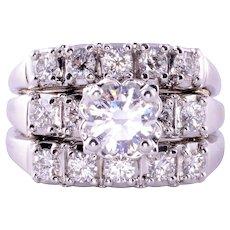 1.15 Carat Center Diamond Three Ring Set
