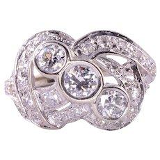 Three Center Diamond Cluster Ring