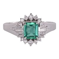 Platinum Center Emerald Cut Emerald and Diamond Ring