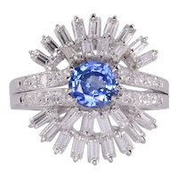 Sapphire Center Diamond Platinum Ring