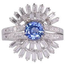 Sapphire Center Diamond Platinum Ring