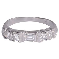 Art Deco Emerald Cut Diamond Platinum Ring