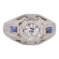 Art Deco .91 Carat Diamond White Gold Ring