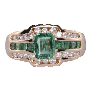 Emerald & Diamond Scalloped Ring