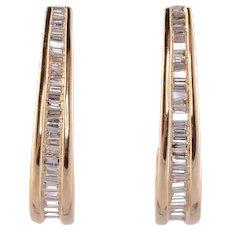 Baguette Diamond Hook Earrings