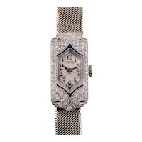 Gruen Platinum Diamond and Sapphire Wrist Watch