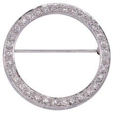 1.30 CTW Diamond Circle Brooch