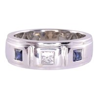 Princess Cut Diamond Sapphire Ring