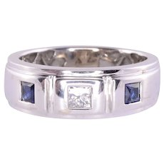 Princess Cut Diamond Sapphire Ring