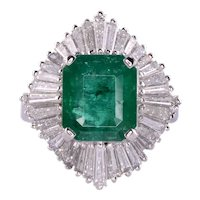 GIA Certified Colombian Emerald Diamond Ballerina Ring
