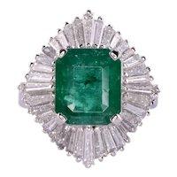 GIA Certified Colombian Emerald Diamond Ballerina Ring