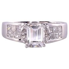 GIA Certified Emerald Cut Diamond Platinum Engagement Ring