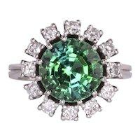 Tsavorite Garnet Diamond 18KW Ring