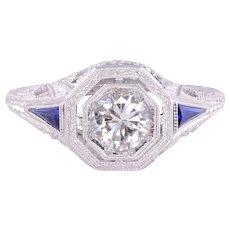 Art Deco Diamond Sapphire Filigree Engagement Ring - Size 5.75