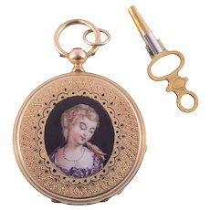 E Bronner & Cie Portrait Hunter Case 18K Pocket Watch