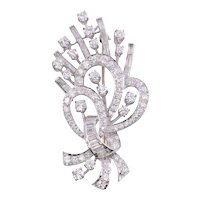 3.26 CTW Diamond Platinum Spray Brooch