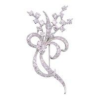 Edwardian Diamond Platinum Floral Brooch