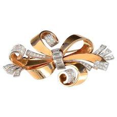 2.6 CTW Diamond Gold Bow Pin Brooch