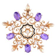 Amethyst and Diamond Snowflake Brooch