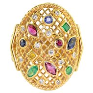 Multi Stone 18K Yellow Gold Ring